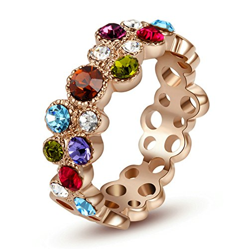 Yoursfs 'Fireworks Sparkles Dazzling Multicolor Crystals Ring Hollow Out Wedding Bands for Women 18ct Rose Gold Plated Dress Rings Girl's