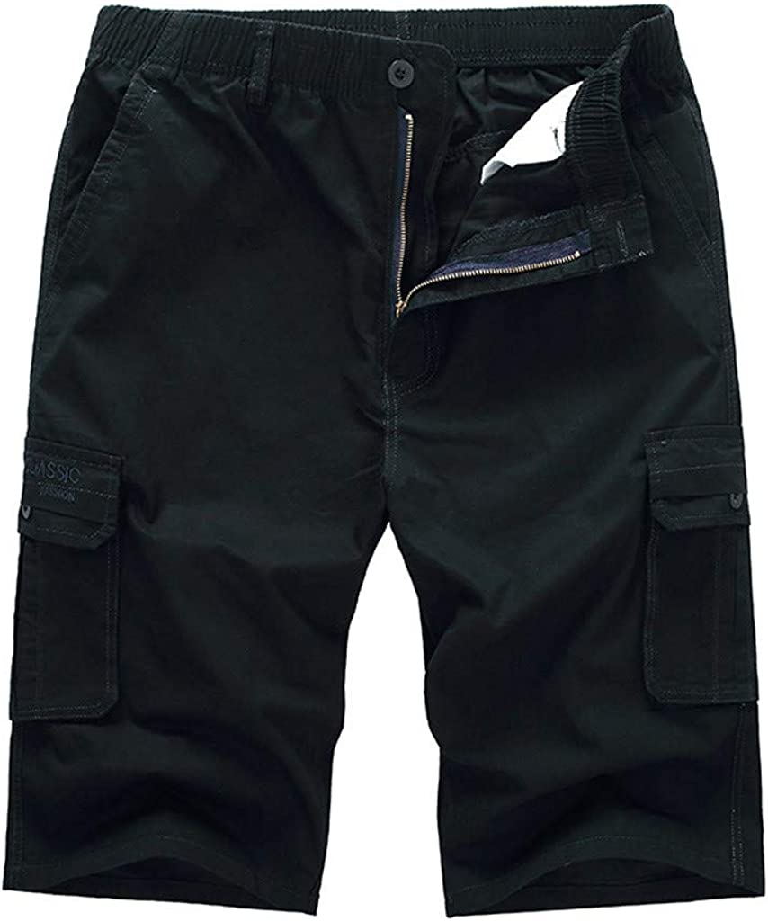 Men's Casual Pure Color Outdoors Pocket Beach Work Trouser Cargo Shorts Pant