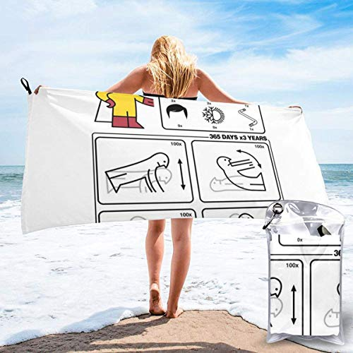 HKYP Toalla de bañoP Hero Type S IKEA Instructions One Punch Man Microfiber Large Beach Towel, Convenient and Foldable, Equipped with Carabiner for Easy Storage, Soft Bath Towel, Quick-Drying Shower