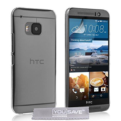 Yousave Accessories Custodia per HTC One M9, Duro Cristallo, Trasparente