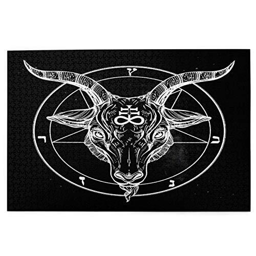 Puzzle 1000 Teile,Jigsaw Puzzle für Erwachsene Kinder,Pentagramm mit Dämon Baphomet Satanic Goat Head Binärsymbol Tattoo,Puzzle Erwachsene anspruchsvoll,Geschicklichkeitsspiel für die ganze Familie