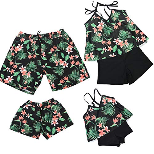 PURFEEL Floral Printed Family Matching Swimsuit Mum and Me Matching Swimwear Womens 2Pcs Bathingsuits Floral Printing Women S