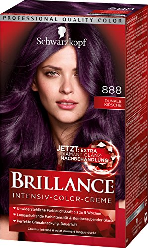 Schwarzkopf Brillance Intensiv-Color-Creme, 888 Dunkle Kirsche Stufe 3, 3er Pack (3 x 143 ml)