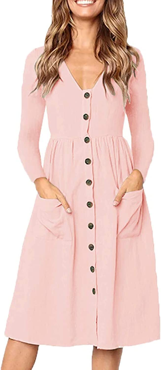 Valphsio Womens Long Sleeve V Neck Dress Button Down Casual A Line Midi Dresses with Pockets