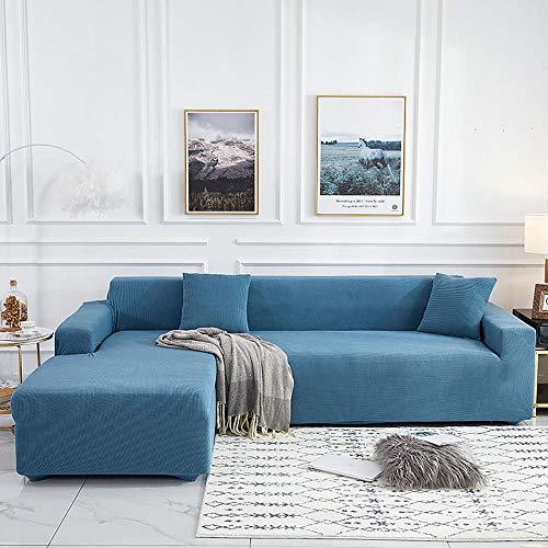 LKJHGF Housse de Canapé D'angleextensible con accoudoirs Couverture de Canapé en Forme de L Revêtement de Canapé en Tissu Élastique-Azul 4 plazas: 235-300 cm
