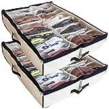 Belle Matinee Under The Bed Shoe Storage Organizer (Set of 2), Fits Upto 24 Pairs, Underbed Storage Solution