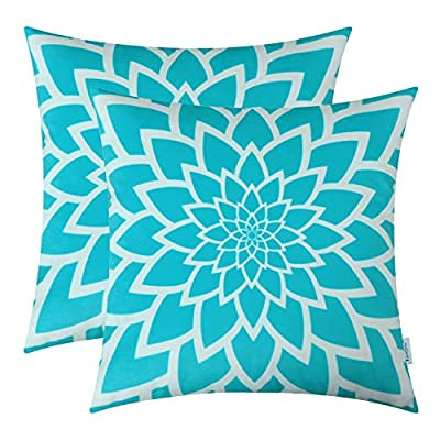 TeaGan Cushion Covers, 2PCS Pillow Shells with Flower Print, 100% Polyester Throw Pillow Covers for Home Decorative Bedroom Living Room, Home Garden Couch Bed Sofa Chair, 18X18 Inch, Turquoise Blue