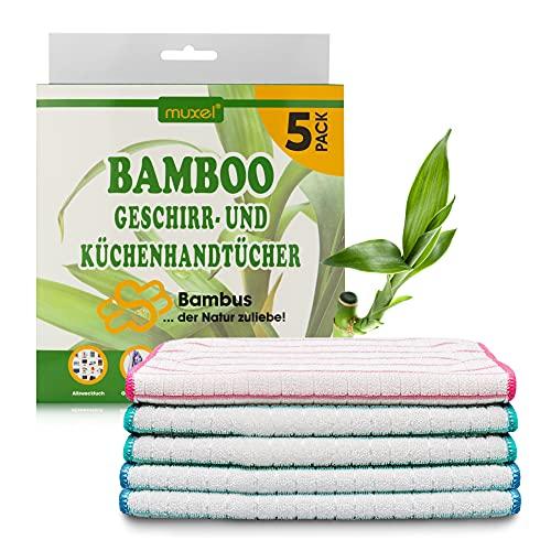 MUXEL Bambus Tücher - Bambus Geschirrtücher - Extra saugfähiges Putztuch - Weiche Bambuslappen zum Polieren, Abtrocknen & Wischen - Nachhaltige Bambus Allzwecktücher (5)