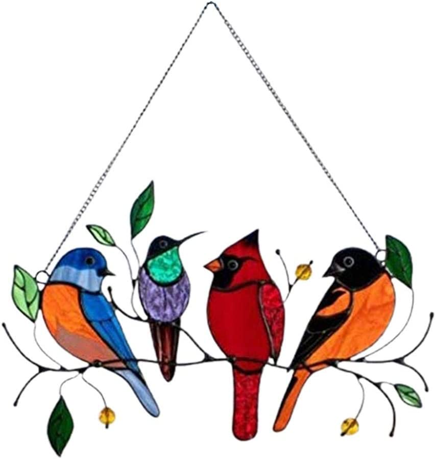 Multicolor Max 73% OFF Birds on a Wire Glass Series Over item handling ☆ Bird Suncatcher Ornament
