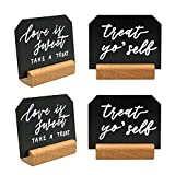 UNIQOOO 4x3 inch Mini Chalkboard Signs with Rustic Wood Stands | Set of 6