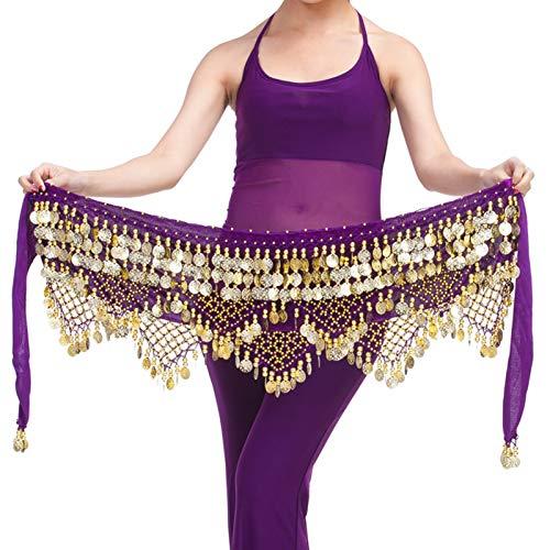 Ansemen Mujer Danza del Vientre Disfraz Lentejuela Baile Bufanda de Cadera Cadena de Cintura Actuacin Falda Cruzada