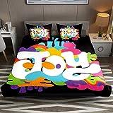 Colorful Joy Word - Juego de funda de edredón de 3 piezas para cama doble, suave y acogedora, de microfibra de fácil cuidado, juego de funda de edredón con cremallera para niños y niñas
