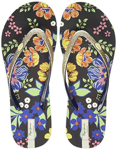 Pepe Jeans London Damen RAKE Raquel Zehentrenner, Schwarz (Gold 099), 37 EU