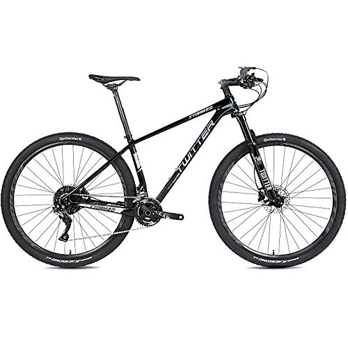 Mountain Bike Fuoristrada da 27,5 Pollici Mountain Bike in Fibra di Carbonio, con Forcella a 27 velocità/Doppio Freno a Disco, Bicicletta MTB Antiscivolo Leggera a Sospensione Completa,Nero,27.5×17