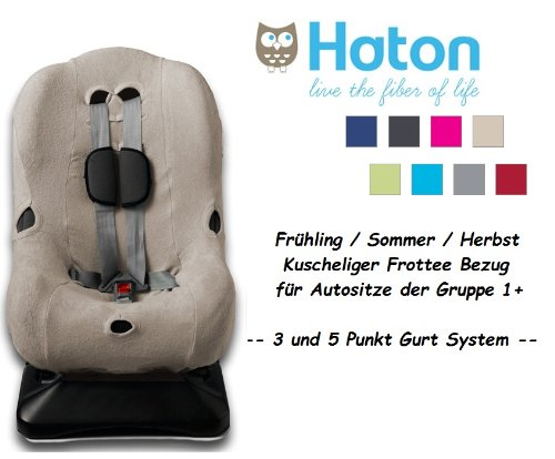 HATON -- FROTTEE Schonbezug / Ersatzbezug -- Frühling / Sommer / Herbst -- 3 UND 5 Punkt Gurt System -- Universal Ersatz-Bezug für Autokindersitz Größe 1 z.B. für Maxi-Cosi Priori / SPS / XP, Römer King Plus / TS / Duo etc. -- TAUPE / BEIGE --