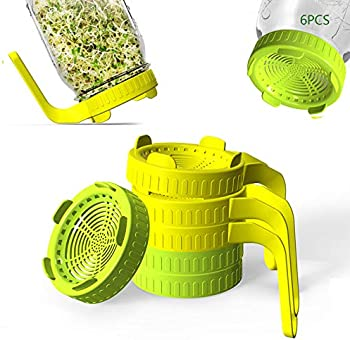 6-Pack Rirpuae Plastic Sprout Lid with Screens for Wide Mouth Mason Jars
