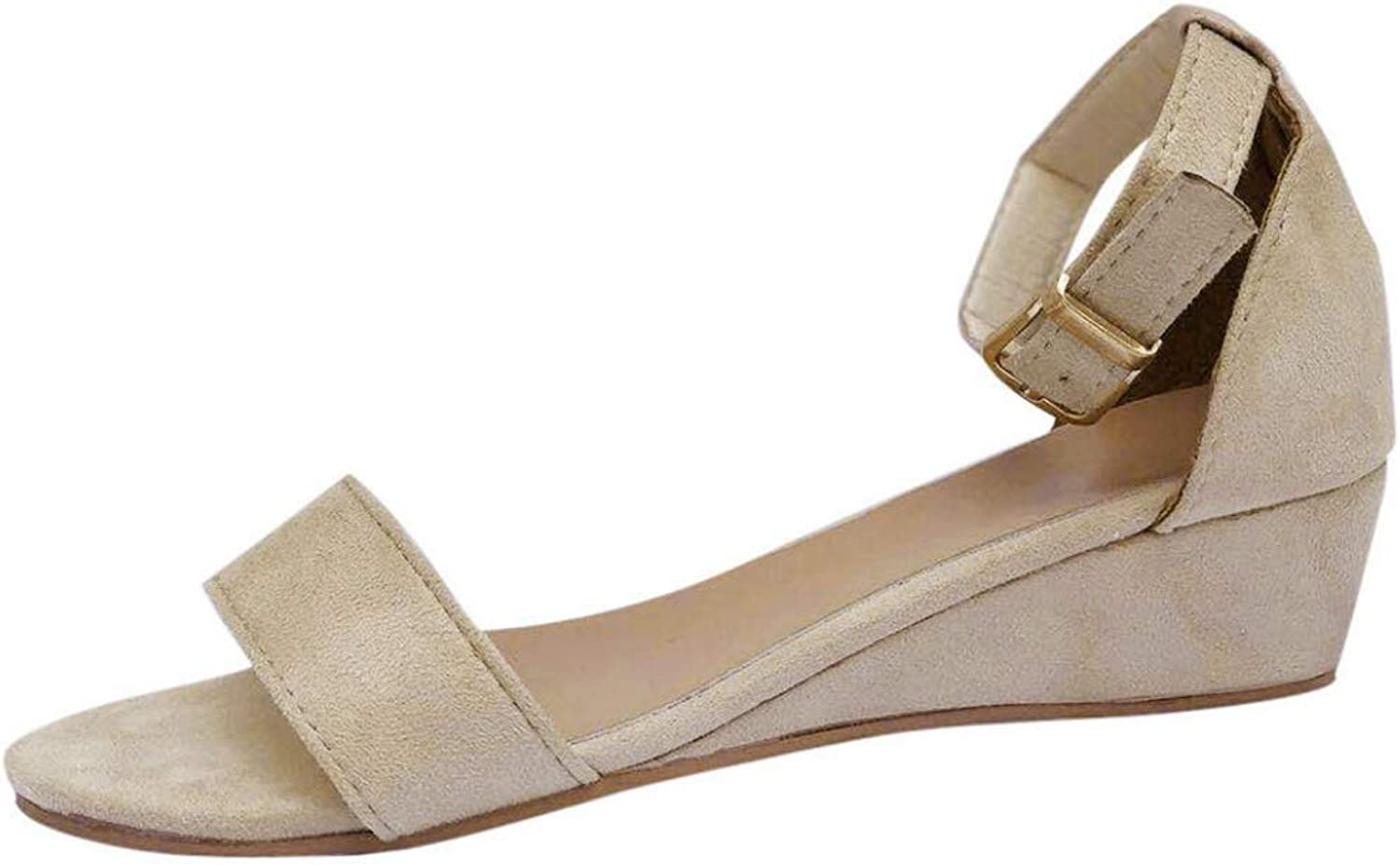 Woman Ankle Buckle Strap Wedge Low Heel Casual Sandals Open Toe Flat Ladies Summer Comfort shoes