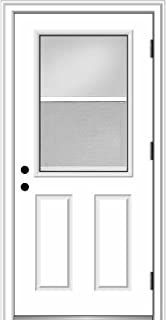 National Door Company ZZ364693L Steel, Primed, Left Hand Outswing, Prehung Door, 1/2 Lite 2-Panel, Clear Glass with Venting Screen, 36