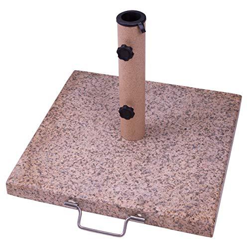 Nexos Sonnenschirmständer Granit poliert eckig 45 x 45 cm 20 kg Altrosa mit Griff Rollen Reduzierhülsen, Edelstahl Für Schirme bis 3m.