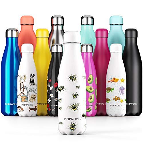Proworks Bouteille d'eau Isotherme Personnalisé, sans BPA, Gourde INOX Reutilisable...