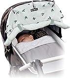 Dooky Universal Cover Origami Swallow Grey Protección solar, protección climática para el asiento del bebé en el coche y la silla de paseo (protección UV SPF 40+, TÜV probado, ajuste universal), Gris