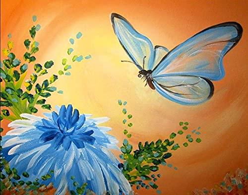 Malowanie według liczb_Motyle zbierające kwiaty_obraz na płótnie dla dorosłych i dzieci, szczotkami i farbami akrylowymi_prezent_30x50cm_Ramka do majsterkowania