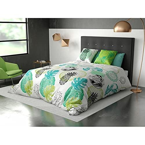 BNG Parure de lit 3 pièces Housse de Couette 100% Coton 240x220cm 2 taies d'oreiller 63x63cm 57 Fils Jungle Amazonie
