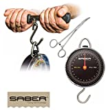 Saber CARP FISHING DIAL SCALES 27K / 55LB COMPLETE WEIGH BAR + FORCEPS