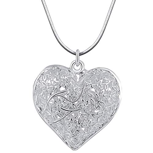 jieGorge Fashion Jewelry Charm Silver Plated Pendant Heart Hollow Necklace Elegant Retro , Necklaces & Pendants , Products for Christmas