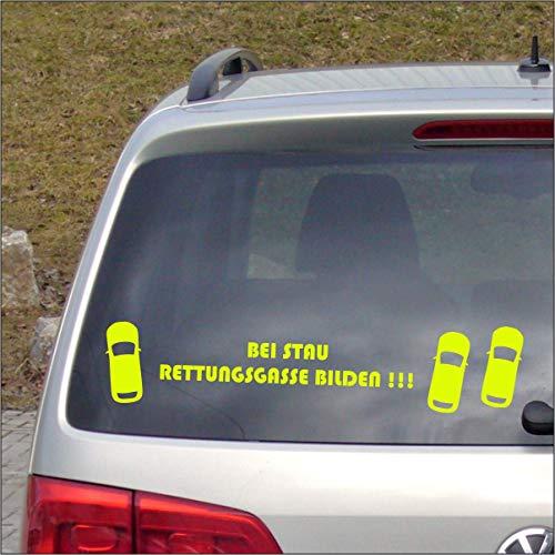 Dr.Shield Bei Stau Rettungsgasse Bilden! Aufkleber NEON Farben Sticker Leben retten Waschanlagen-fest (NEON Gelb)