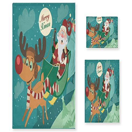 MNSRUU Juego de toallas vintage con diseño de Papá Noel y Papá Noel, para mujeres y niñas, toallas de baño, toallas de mano y paños de baño, accesorios absorbentes de baño
