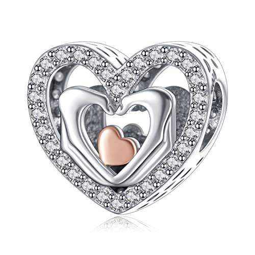 Annmors Charme Hands Love Heart Anhänger S925 Sterling Silber Bracelet Bead with Cubic Zirconioa für Europäische Armbänder Halskette,Schmuck Geschenk Christmas für Damen Herren