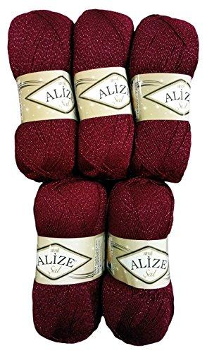 Alize 5 x 100 g Glitzerwolle SAL zum Stricken und Häkeln, 500 Gramm Metallic – Wolle (Bordeaux rot 57)