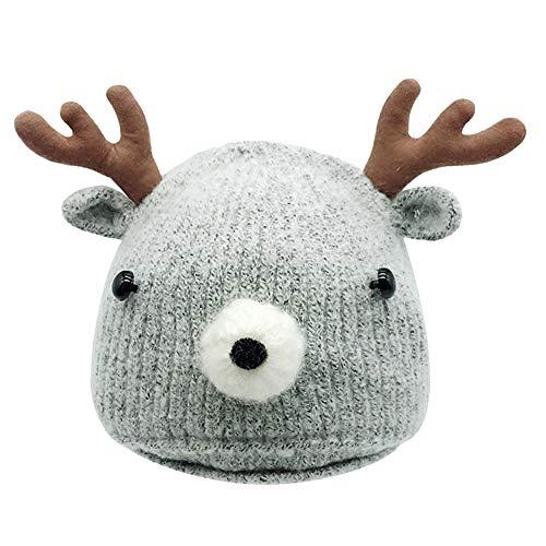 QinMM 0-18 Mes Niño Bebé Navidad Invierno Elk Cuerno Sombrero Hecho Punto Bebé Gorra de Caliente