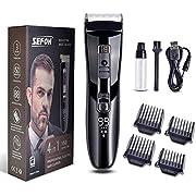 SEFON Haarschneider Professioneller LCD-Farbdisplay Haartrimmer Electric Beard Trimmer Rechargeable Long Hair Trimmer 4 in 1 Haarschneidemaschine für Männer und Kinder Schwarz