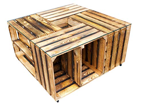 Kontorei 1x stijlvolle salontafel met wielen en opbergruimte, van gevlamde houten kisten, met middenplanken/planken, wielen, nieuw, 81 x 81 x 44 cm