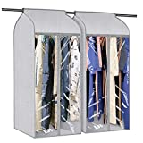 Univivi Garment Storage Bag 50' Hanging Garment Clothes Cover with Magic Tape and Sturdy Full Zipper for Coat Dress Closet Cover & Wardrobe Hanging Storage Bag(2-Pack)