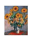 Vase Of Sunflowers, Claude Monet, Art Print Poster, Paper Size 14' x 11' Image Size 10' x 8'(2103)