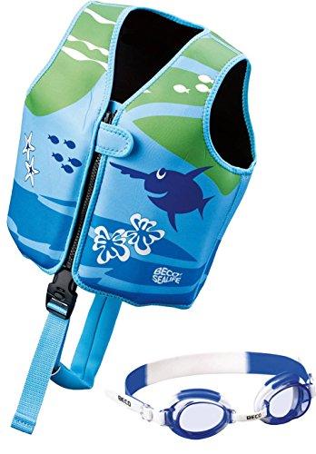 Beco - Kinder Sealife Schwimmlernweste, Größe M für 4-6 Jahre, Mehrfarbig (Blau/Grün) + Schwimmbrille [ blau ]
