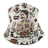 PQU Awesome Windproof Face Guards,Tatouage Vintage Flash Hipster Man Et Diverses Images Crâne Coeur Mer-Maid Snake Retro Set Neck Warmer, Premium Neck Scarf Wrap for Party Holiday,26x30cm
