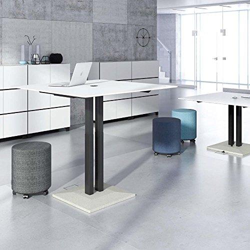 Besprechungstisch höhenverstellbar Jazz 120 x 120 cm groß Sitz-/Stehtisch Meetingtisch, Gestellfarbe:Weiß