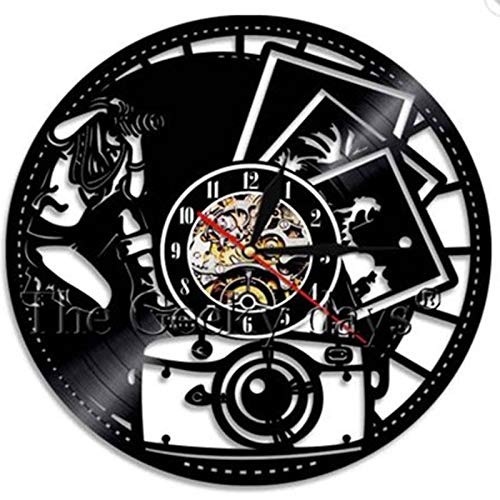 FDGFDG Paar Foto Fotografie Vinyl Wanduhr modernes Design Studio Wandkunst Retro Vinyl Schallplatte Uhr Wanduhr Fotograf Geschenk