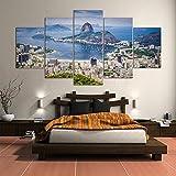 zeo Qi Lin Zou Brasil Río de Janeiro Vista al mar Lienzo Decorativo para Tu Salón o Dormitorio Sala de Estar Sala de Estar Dormitorio-5 Piezas Enmarcado de Madera-(20x35 20x45 20x55cm)