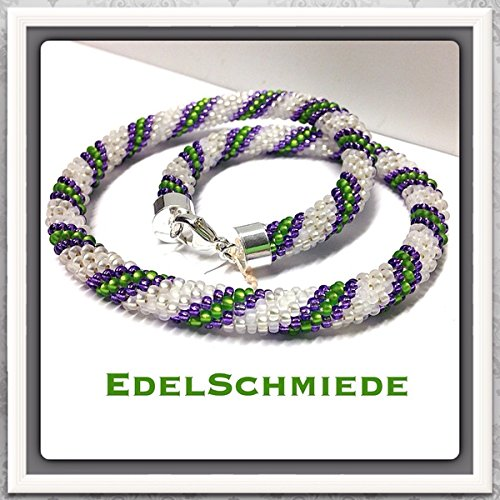 Häkelkette aus Glasperlen 925/- Sterling Silber Schließe - Handarbeit - 40 cm
