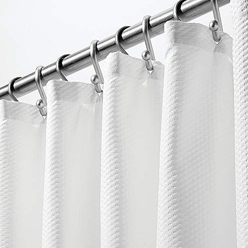 mDesign - Cortina de ducha de tela de fácil cuidado con ojales reforzados, diseño de damasco largo decorativo, para duchas de baño, puestos y bañeras, lavable a máquina, 183 x...