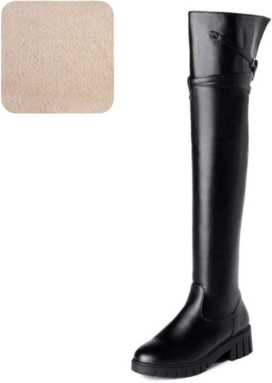 T-JULY Women Zipper Buckle Fashion Warm Winter shoes Fashion Round Toe Platform High Heels Over Knee Boots