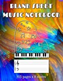 Blank Sheet Music Notebook: 100+ Pages of Wide Staff Paper (8.5x11) for kid to learn piano (8 staves per page) (Blank Sheet Piano Music Notebook)