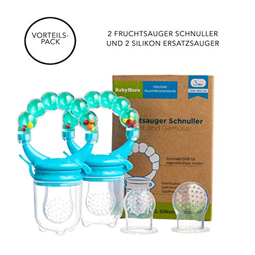 Baby Fruchtsauger Schnuller für Obst und Gemüse - Aus Premium Silikon zu 100{f206c2bce63e055752960ae1bbb863990f74a78e62c000862a4d63011b3c9a2b} BPA-frei - Fruchtschnuller Set (Blau)