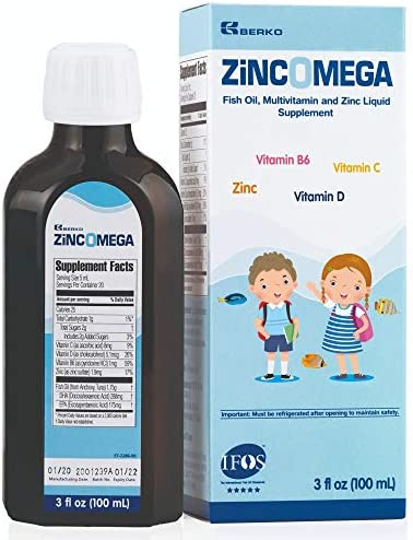 Zincomega Kids Vitamins - Fish Oil Omega 3 Spoons New Essential Fatty Acids Aid EPA&DHA, Vitamin D and Zinc Supplement, Immune Support, Lemon Flavor - 20 Spoons