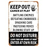 ANJOOY Tin Signs Vintage - Keep Out Gamer at Play Do Not Disturb Enter at Own Risk - Metal Sign for Bedroom Cafe Home Bar Pub Coffee Beer Kitchen Bathroom Door Garden Funny Wall Decor Art 8'x12'